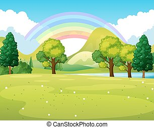 arco íris, parque, cena, natureza