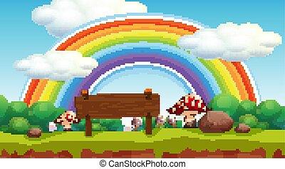 arco íris, parque, cena
