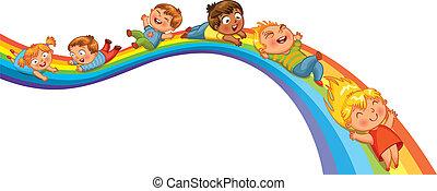 arco íris, passeio, crianças