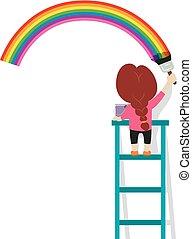 arco íris, pequeno, parede, ilustração, vetorial, menina, quadro