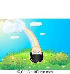 arco íris, prado, criança