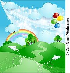 arco íris, primavera, paisagem, vetorial