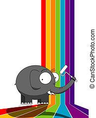 arco íris, quadro, elefante
