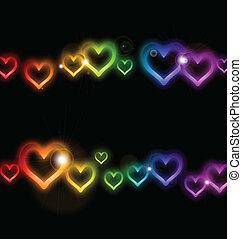 arco íris, quadro, vetorial, sparkles., coração