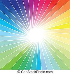 arco íris, raio, explosão, fundo, luzes