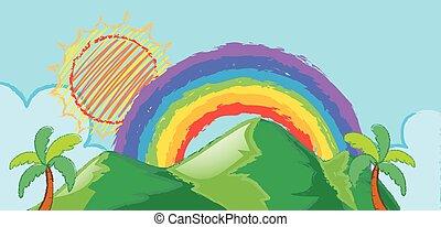 arco íris, sobre, cena, doodle, montanha