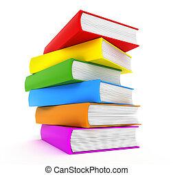arco íris, sobre, livros, branca