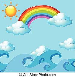 arco íris, sobre, oceânicos, sol
