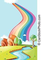 arco íris, sobre, rio, cena