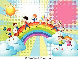 arco íris, sobre, tocando, faixa, música, crianças