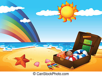 arco íris, sol, céu, luminoso, sob, praia