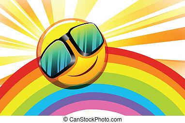 arco íris, sol sorridente
