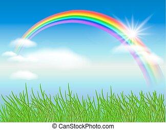 arco íris, sol