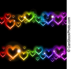 arco íris, sparkles., vetorial, borda, coração