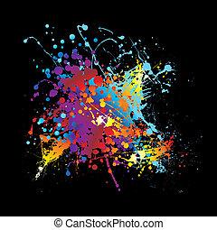arco íris, splat, tinta