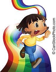 arco íris, tocando, criança