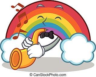 arco íris, trompete, personagem, caricatura, coloridos