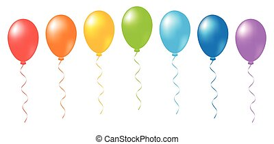 arco íris, vetorial, balões