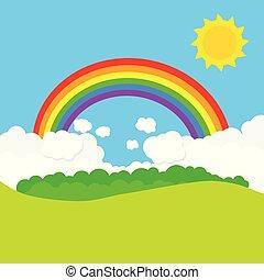 arco íris, vetorial, sun., paisagem, ilustração