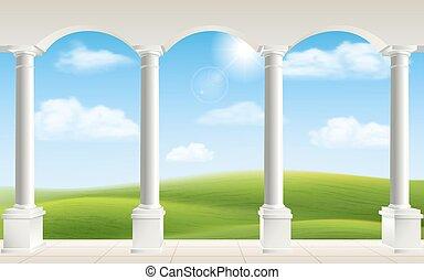 arco, prado, colunas