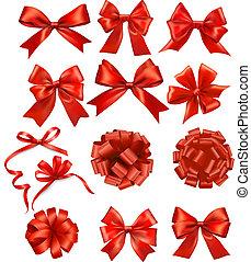 arcos, fitas, jogo, presente, vetorial, vermelho, grande