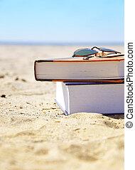 areia, livros, férias praia