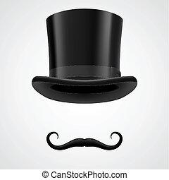 aristocrata, chapéu superior, vitoriano, moustaches