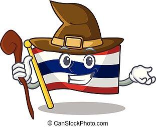 armário, personagem, bandeira, armazenado, feiticeira, tailandia, caricatura