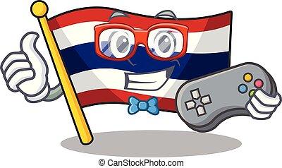 armário, personagem, bandeira, armazenado, gamer, tailandia, caricatura