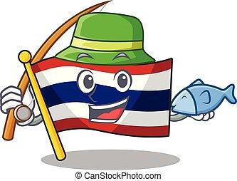 armário, personagem, bandeira, armazenado, pesca, tailandia, caricatura