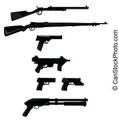 arma, silhuetas, cobrança