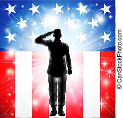 armado, nós, saudando, forças, bandeira, militar, soldado, silueta