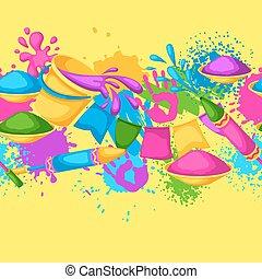armas, blots, holi, coloridos, border., manchas, baldes, seamless, ilustração, água, pintura, bandeiras, feliz