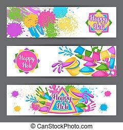 armas, blots, holi, coloridos, manchas, baldes, ilustração, água, banners., pintura, bandeiras, feliz