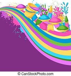 armas, blots, holi, coloridos, manchas, baldes, ilustração, água, experiência., pintura, bandeiras, feliz