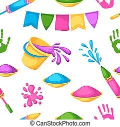 armas, blots, holi, coloridos, manchas, baldes, pattern., seamless, ilustração, água, pintura, bandeiras, feliz