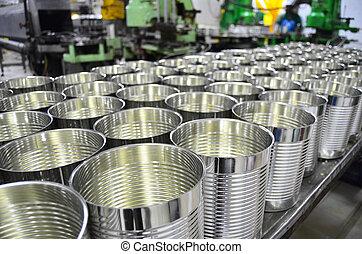 armazém, alumínio, fábrica, latas