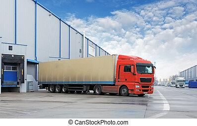 armazém, carga, -, transporte, caminhão