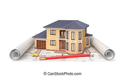 arquiteta, residencial, project., casa, blueprints., ilustração, ferramentas, habitação, 3d