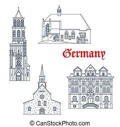 arquitetura, alemão, viagem, alemanha, ícones, marcos