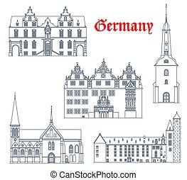 arquitetura, marcos, alemão, ícones, cidade, alemanha