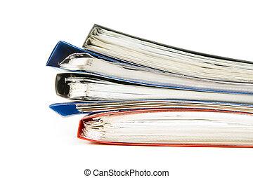 arquivos, colorido, escritório