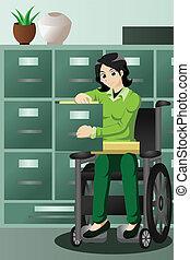arquivos, trabalhando, executiva, cadeira rodas, escritório, gabinete, arquivamento