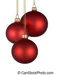 arranjo, baubles, vermelho, natal