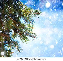 arte, árvore, neve, ramo, outono, natal