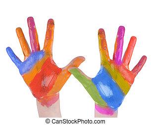 arte, ba, pintado, criança, mãos, branca