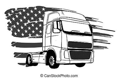arte, caricatura, desenho, semi caminhão, vetorial, ilustração