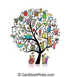 arte, cobrança, árvore, desenho, seu, bebidas