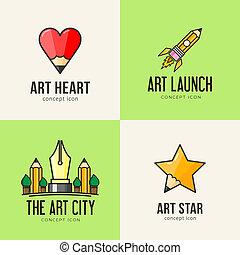 arte, conceito, jogo, ícones
