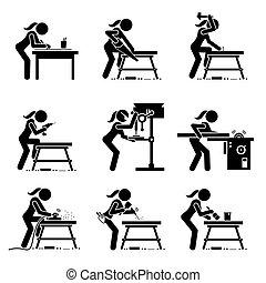 arte, fazer, madeira, ferramentas, icons., vara, carpinteiro, industrial, figura feminina, equipamento